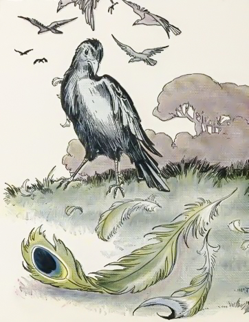 A Jackdaw and Peacock Feathers - Fables of Aesop