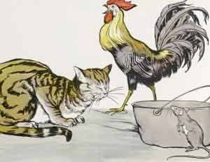 Cat, Cock, and Mouse
